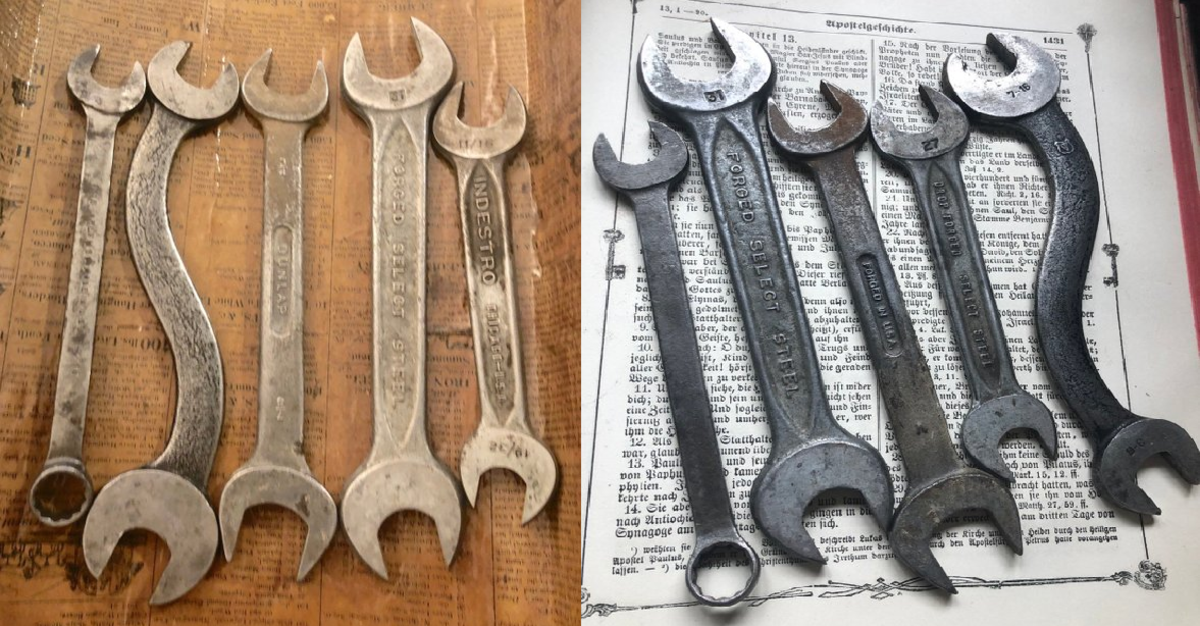 Two completely different looks from the same set of wrenches. One is taken by flash and artificial light (left) and the other natural light in the daytime (right).