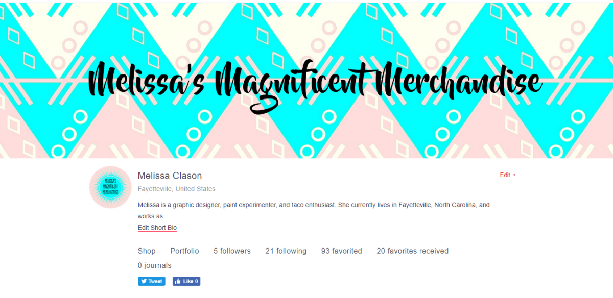 This is my Redbubble profile. I used a blue and pink color scheme with a black font to create my avatar and cover image, and used geometric patterns to make it decorative and fun.