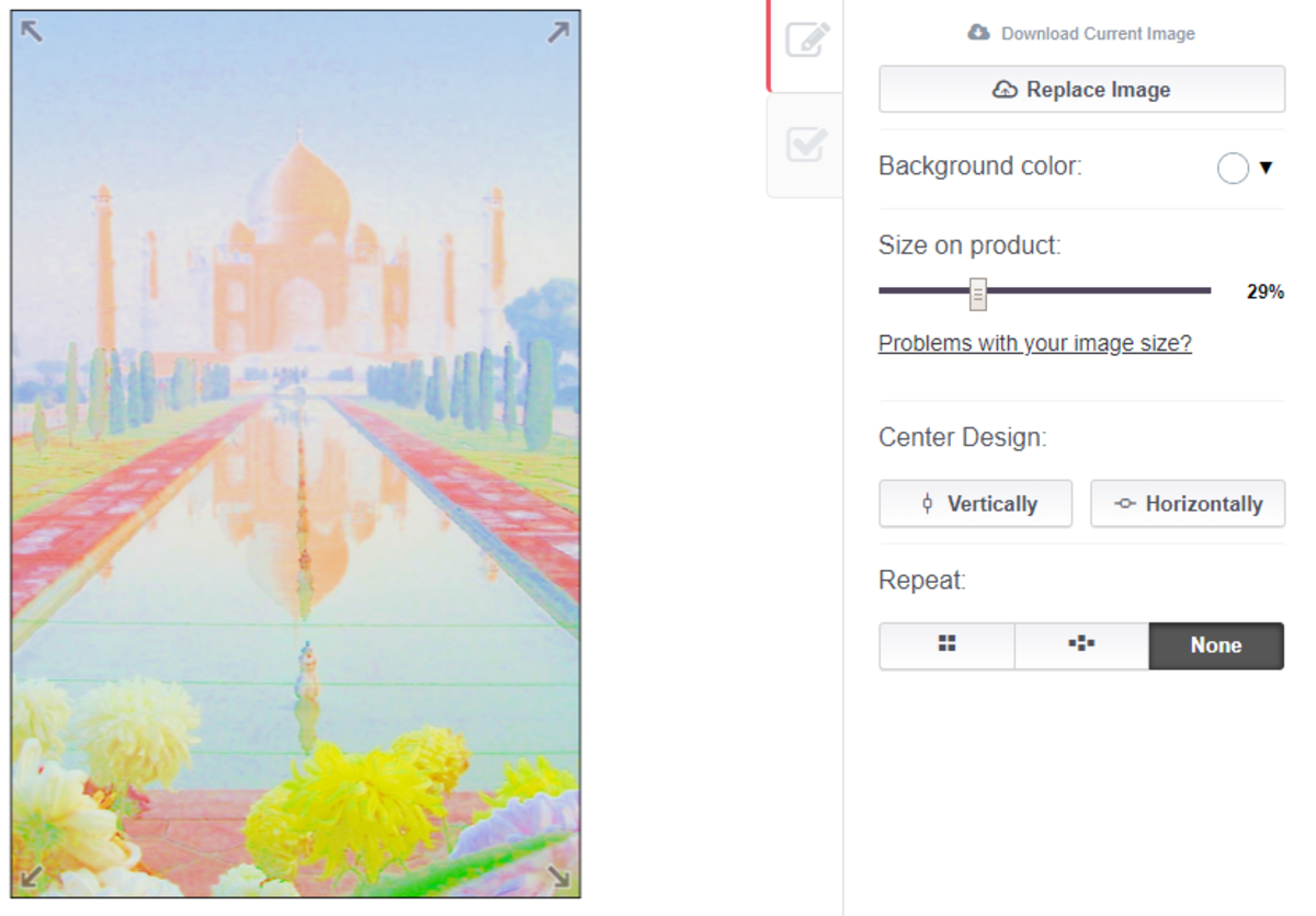 Here I am editing my painting of the Taj Mahal to fit on a phone case. You can move your image around to crop it to the part you want to show, or shrink it down to fit the whole picture on the case. You can also tile your image.