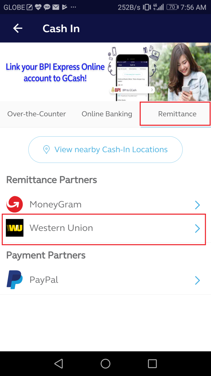 Followed by a second tap on Western Union under Remittance Partners