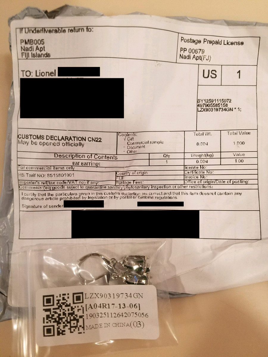This package was sent from FIji. To date, the return address is not traceable.