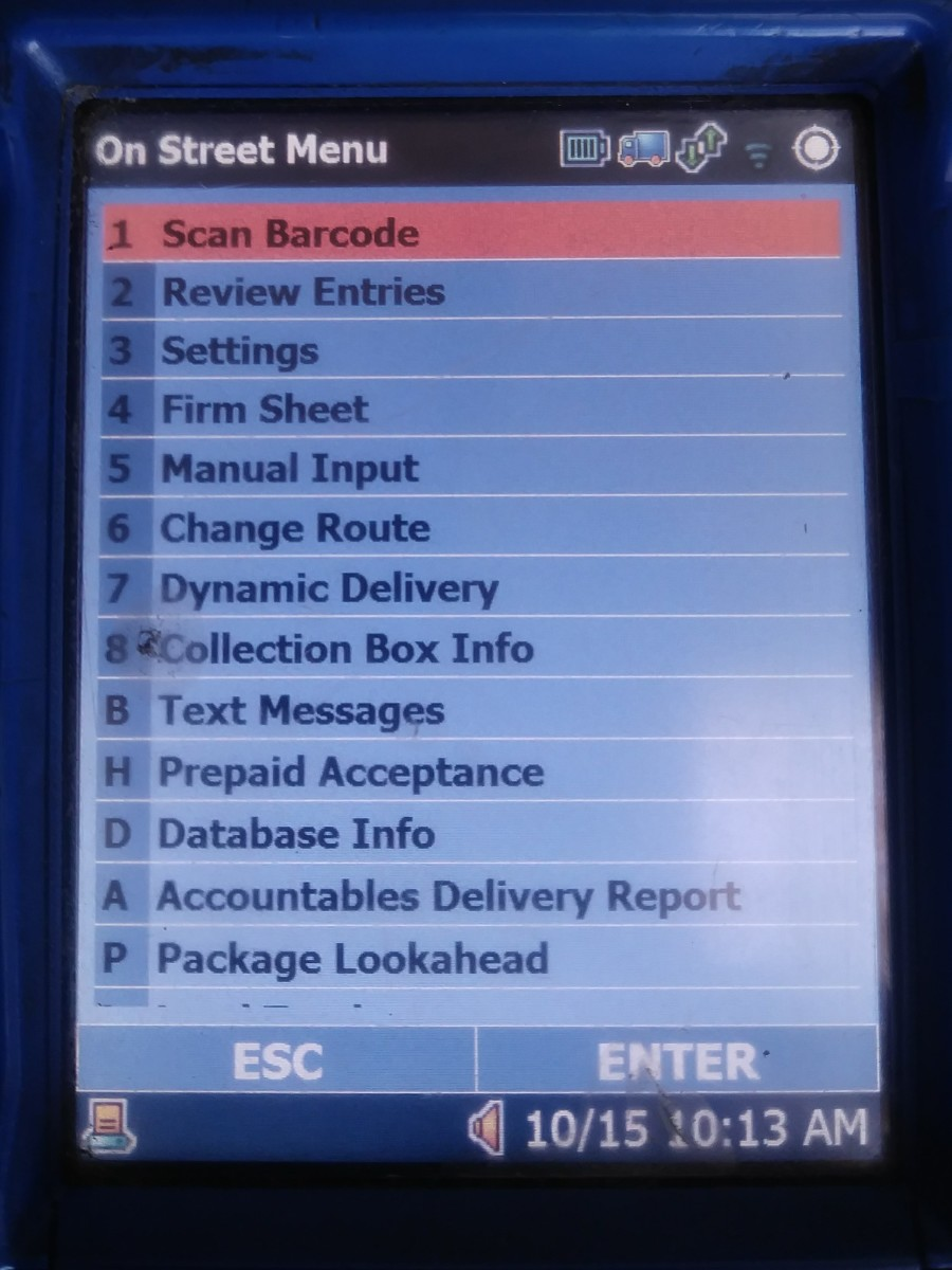A glance at the MDD menu, accessed by hitting ESC in the upper left hand corner of the device.