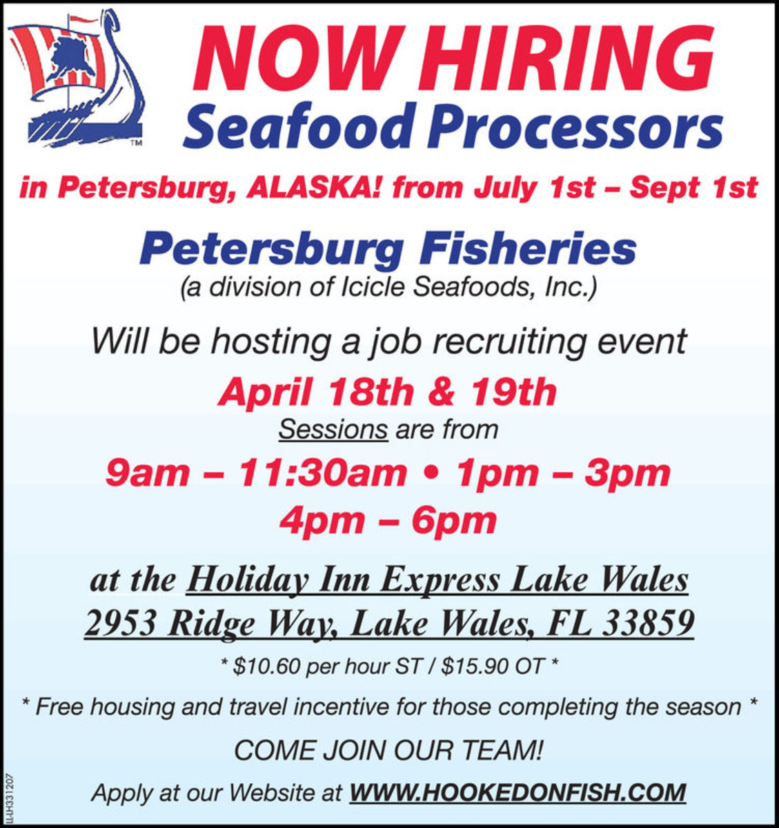Petersburg Fisheries employment flyer from 2018