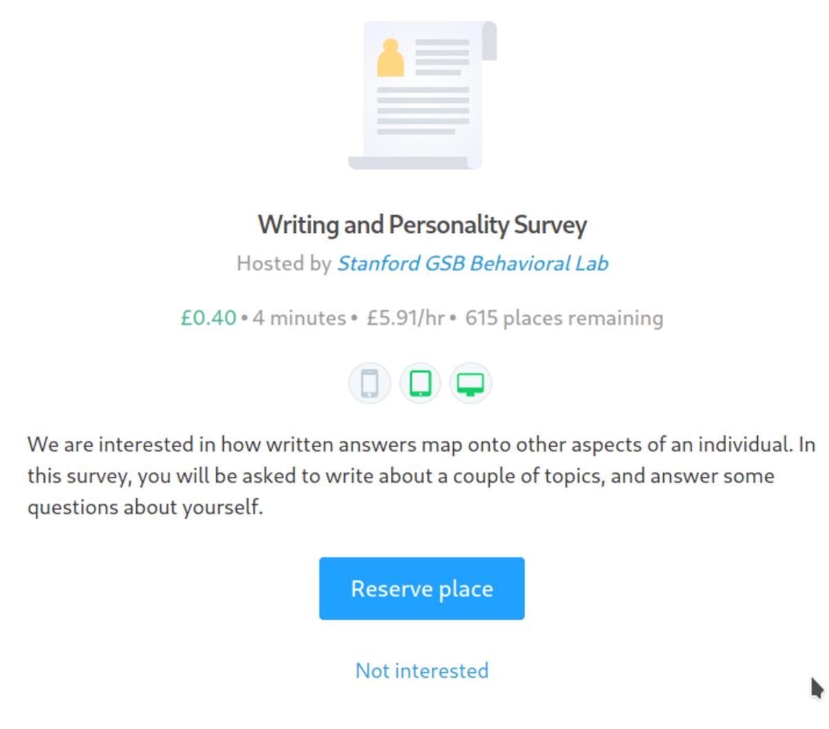 A survey description.
