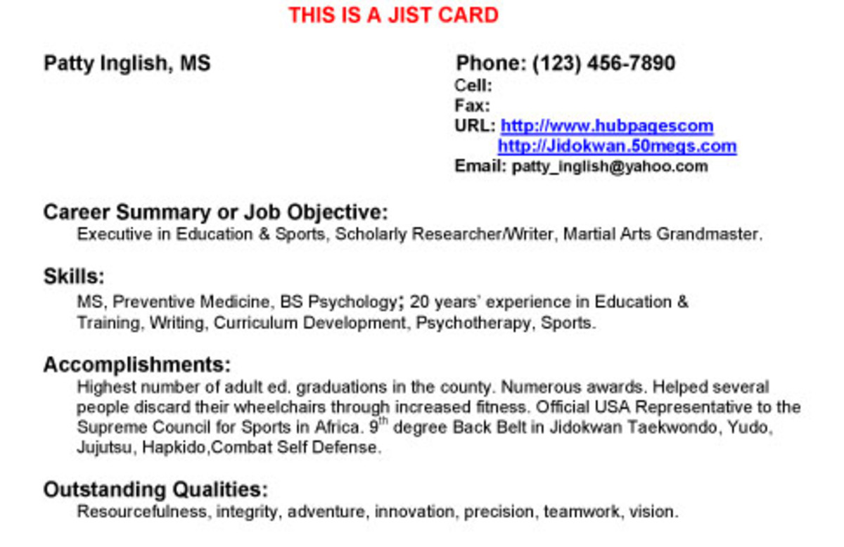 Resume + Business Card = JIST Card