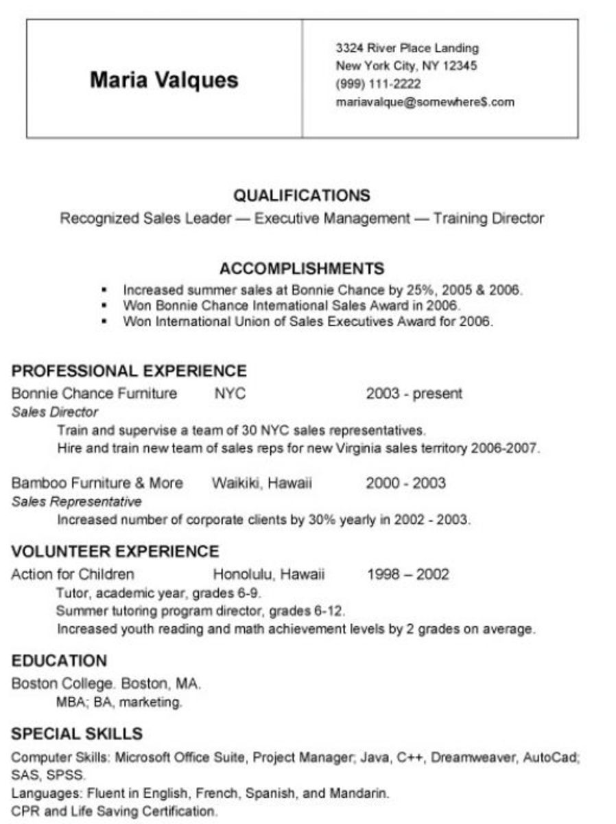 Here is a resume. A mini resume will include less information.