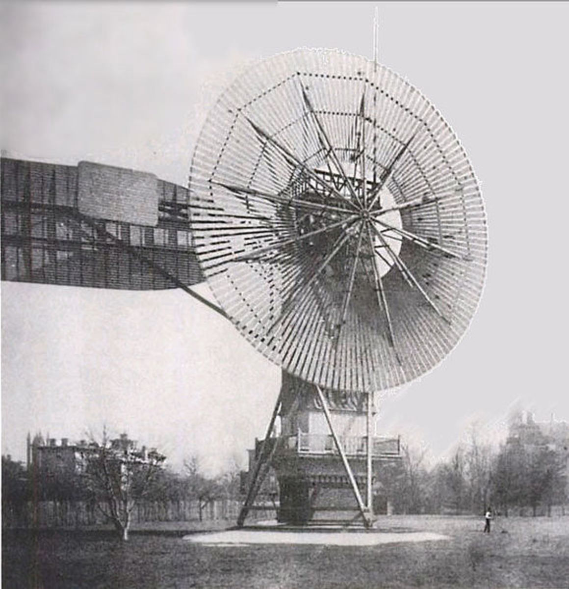 1888 -- Charles F. Brush's 60 ft, 80,000 lb turbine supplied 12kW power to 350 incandescent lights, 2 arc lights, and a number of motors at his home for 20 years.