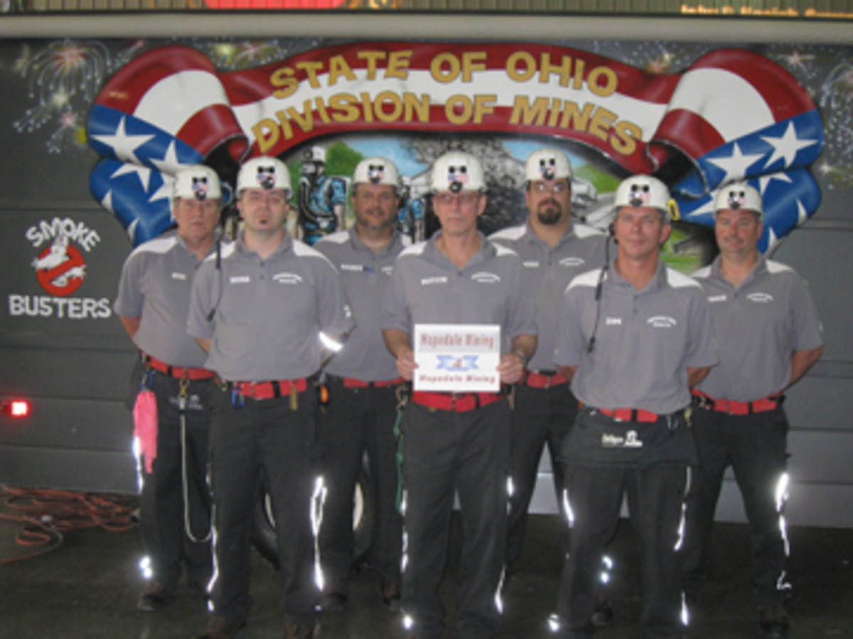 Today, Ohio miners participate In safety competitions. Here is the mine rescue team from Hopedale Mining in Harrison County, Ohio.