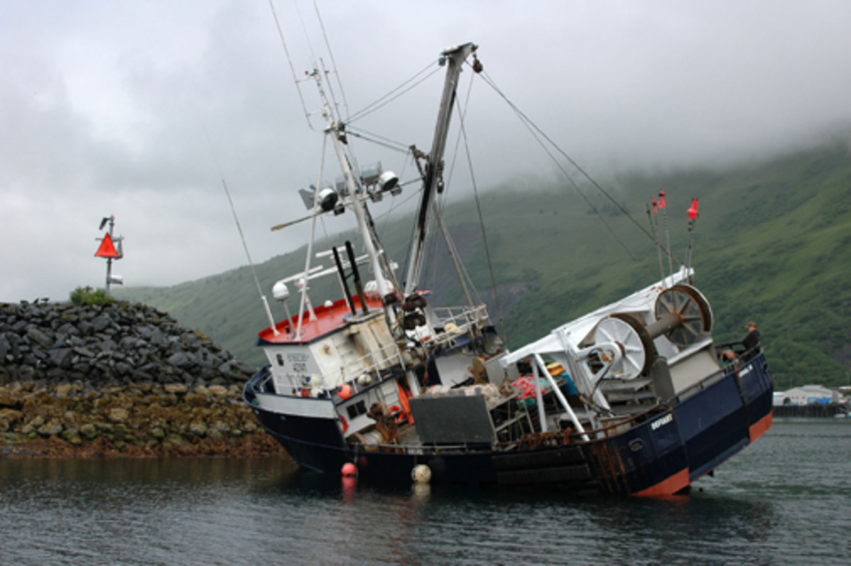 This U.S. Coast Guard photo illustrates how fishing crew fatigue caused the Defiant fishing vessel to run aground.