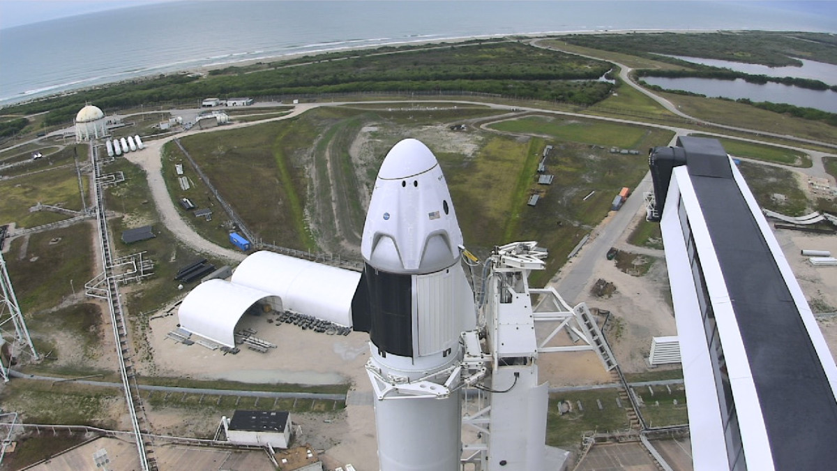 The SpaceX Falcon 9 and Crew Dragon spacecraft stand on Launch Complex 39A on May 27, 2020.