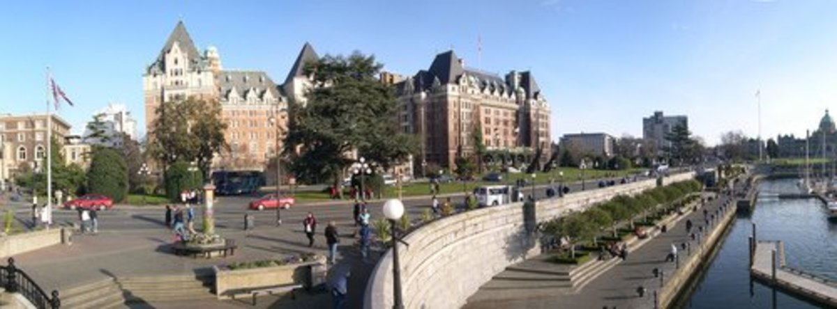 Victoria Waterfront at Empress Hotel. One summer I saw free tango lessons given on the Waterfront at a cafe. The Greek restaurant was also very good. The insect museum was fun and along the walkways we saw hand-carved doors. [Photo by avhell on flckr