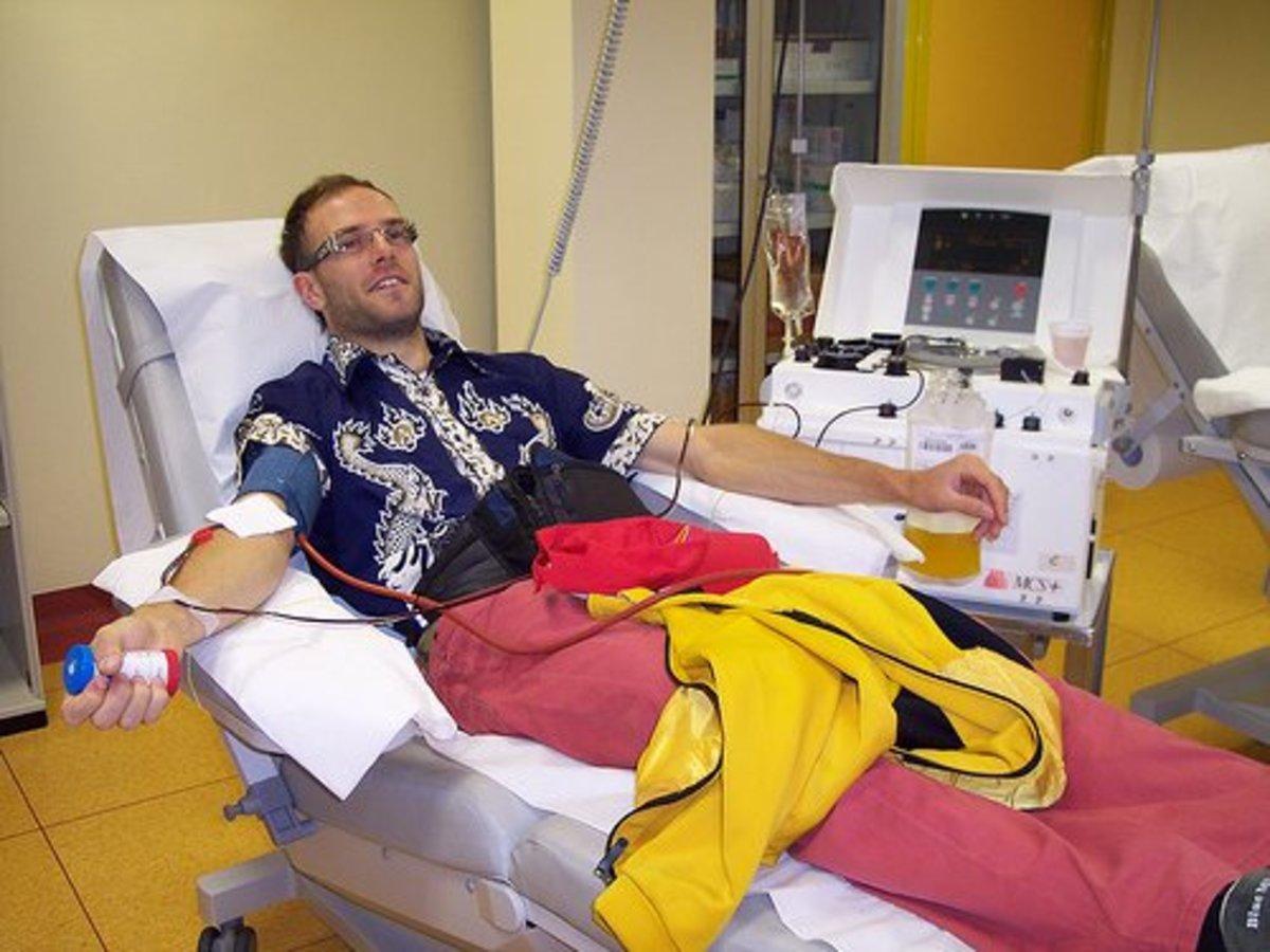 Donating plasma.