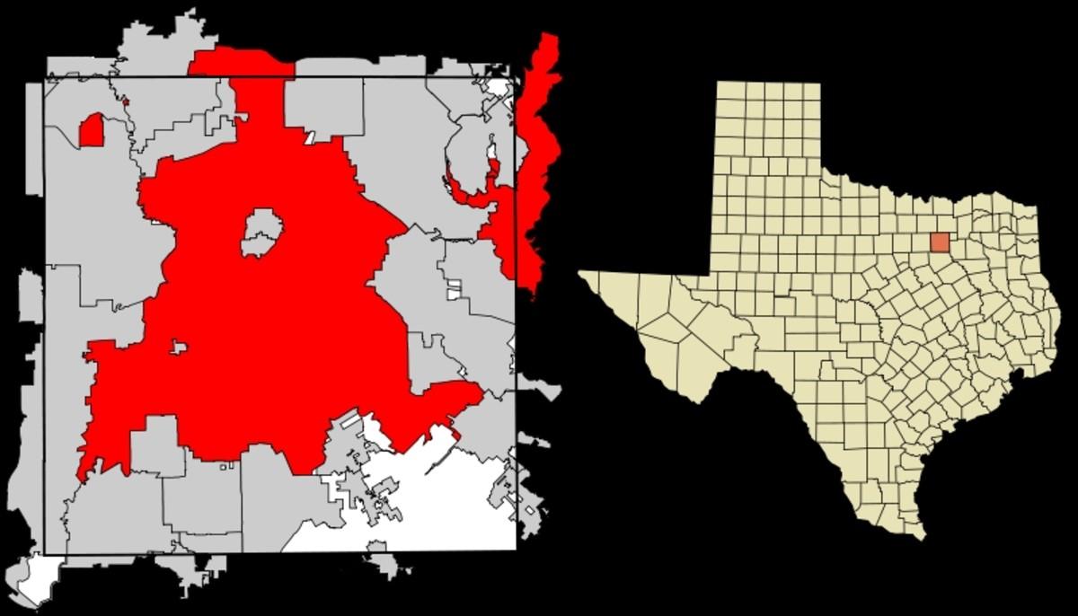 Location of Dallas, North Texas