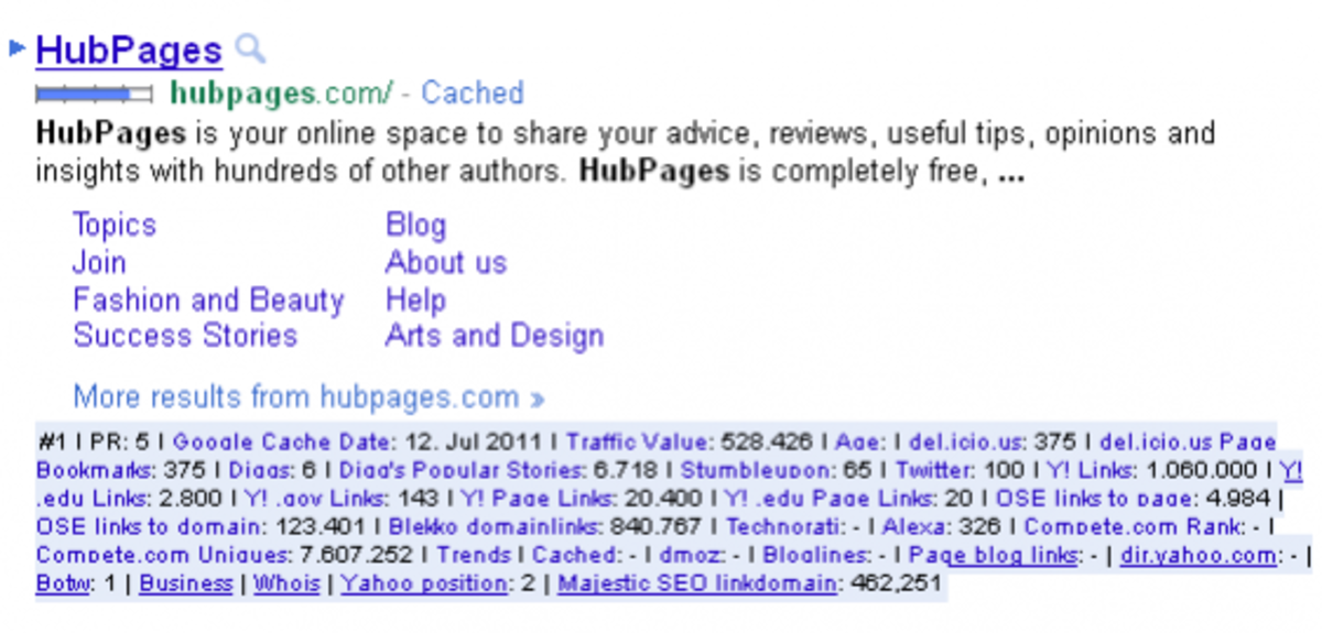 A sample search result with SEO For Firefox enabled