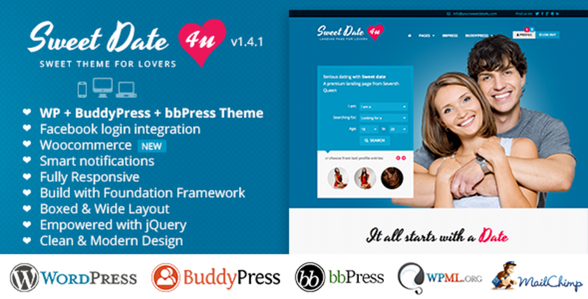 Full Featured Wordpress Online Dating Theme