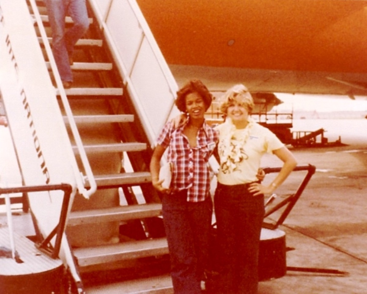 This is Donna and me after our flight attendant class finished the training flight on the 747 from Dallas to Hawaii