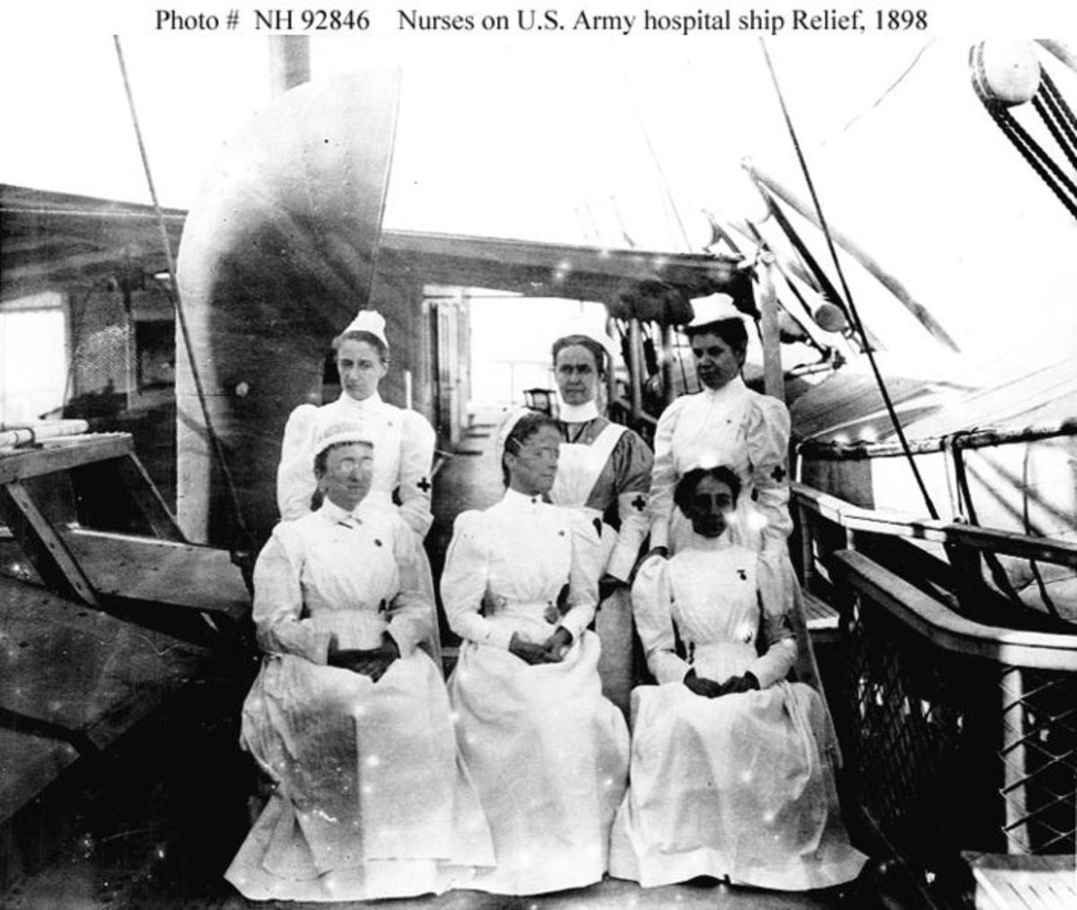 Nurses on SS Relief in 1898; US Army Hospital Ships Used Transport Nurses Early On