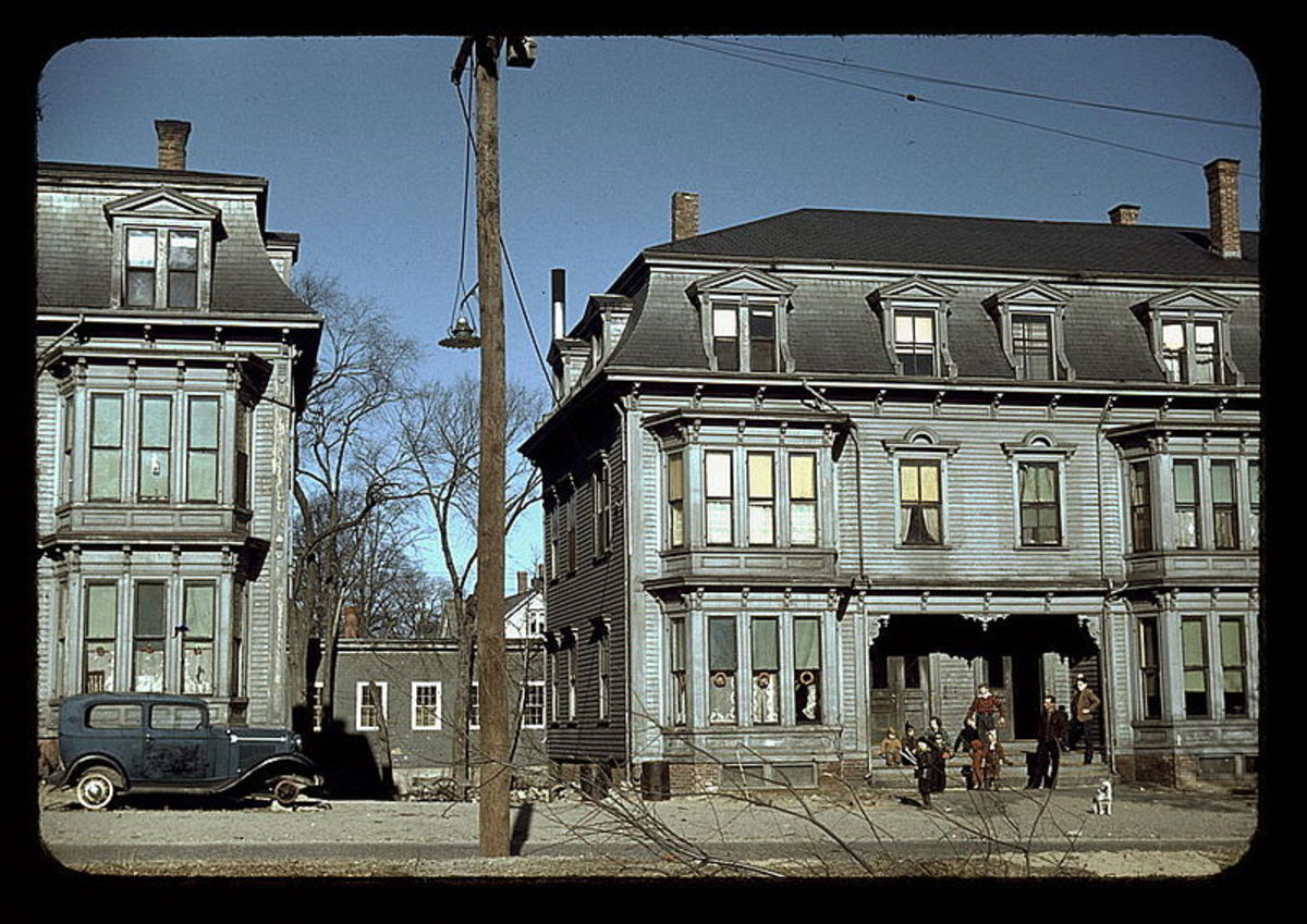 Tenement houses of a bygone era. Some are still standing and abandoned. [Photos in this article are in the public domain.]
