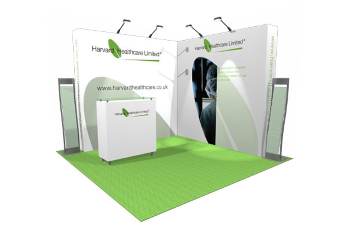 A pop up display booth for a corner position at an Exhibition.  With two open sides, the booth can be approached from several directions for maximum impact.