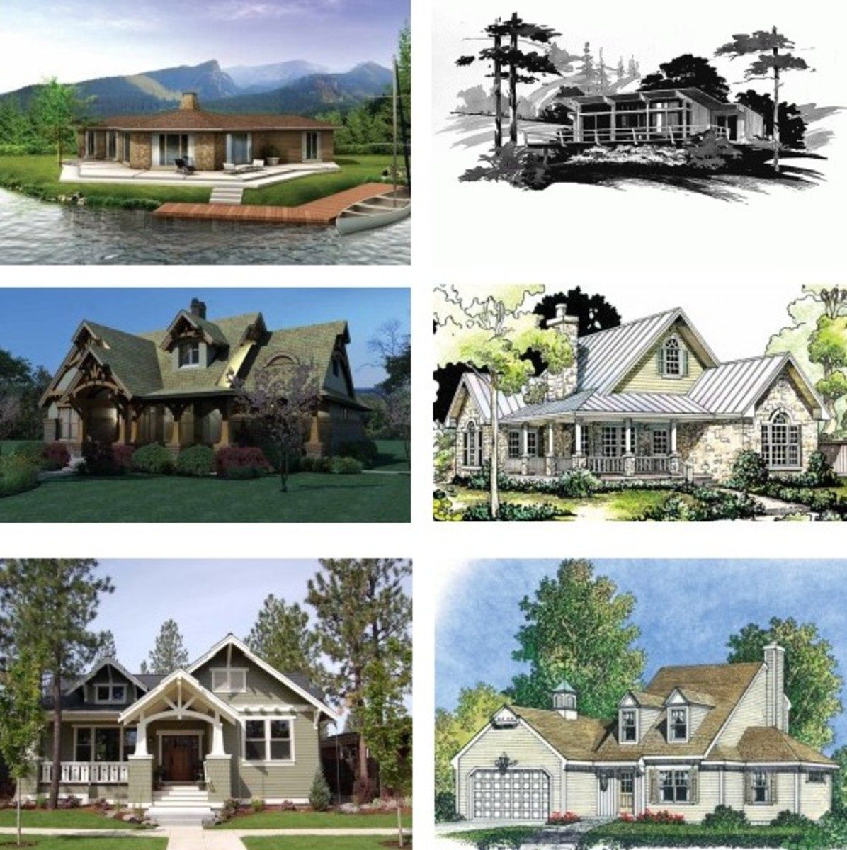 Traditional style home designs you will find online. Notice their modest sizes and beautiful classic features. For prospective homeowners that love elegant traditional style architecture.