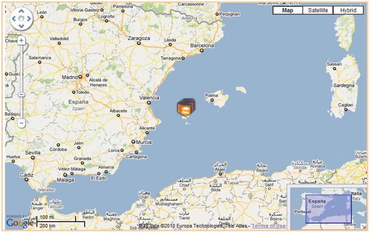 Ibiza is shown by the little orange flags here; click to enlarge.
