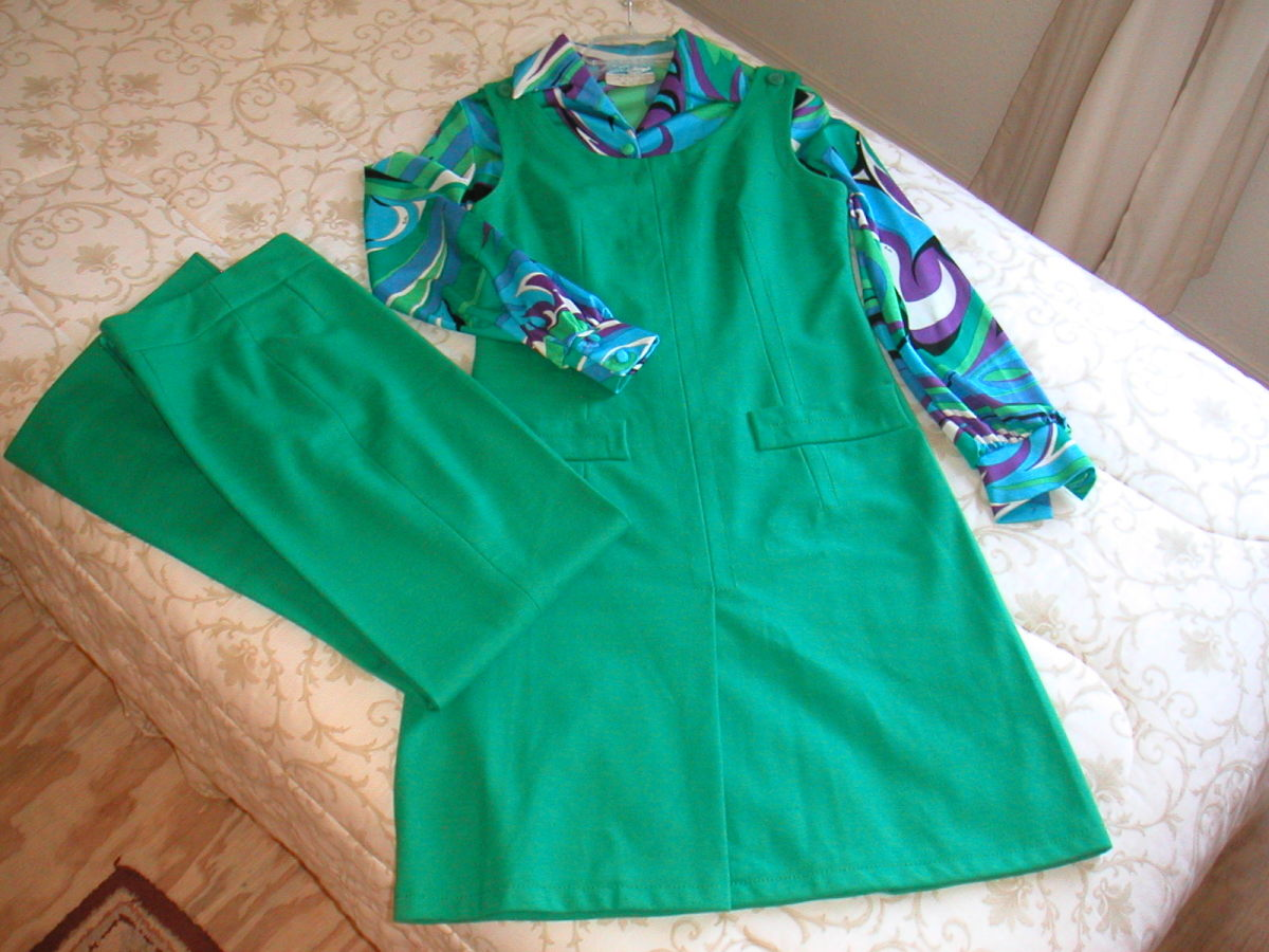 Wool tunic and pants with the bodysuit made from polyester knit designed by Pucci.