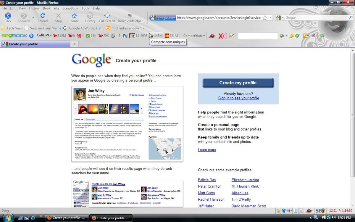 Google Profiles Main Page