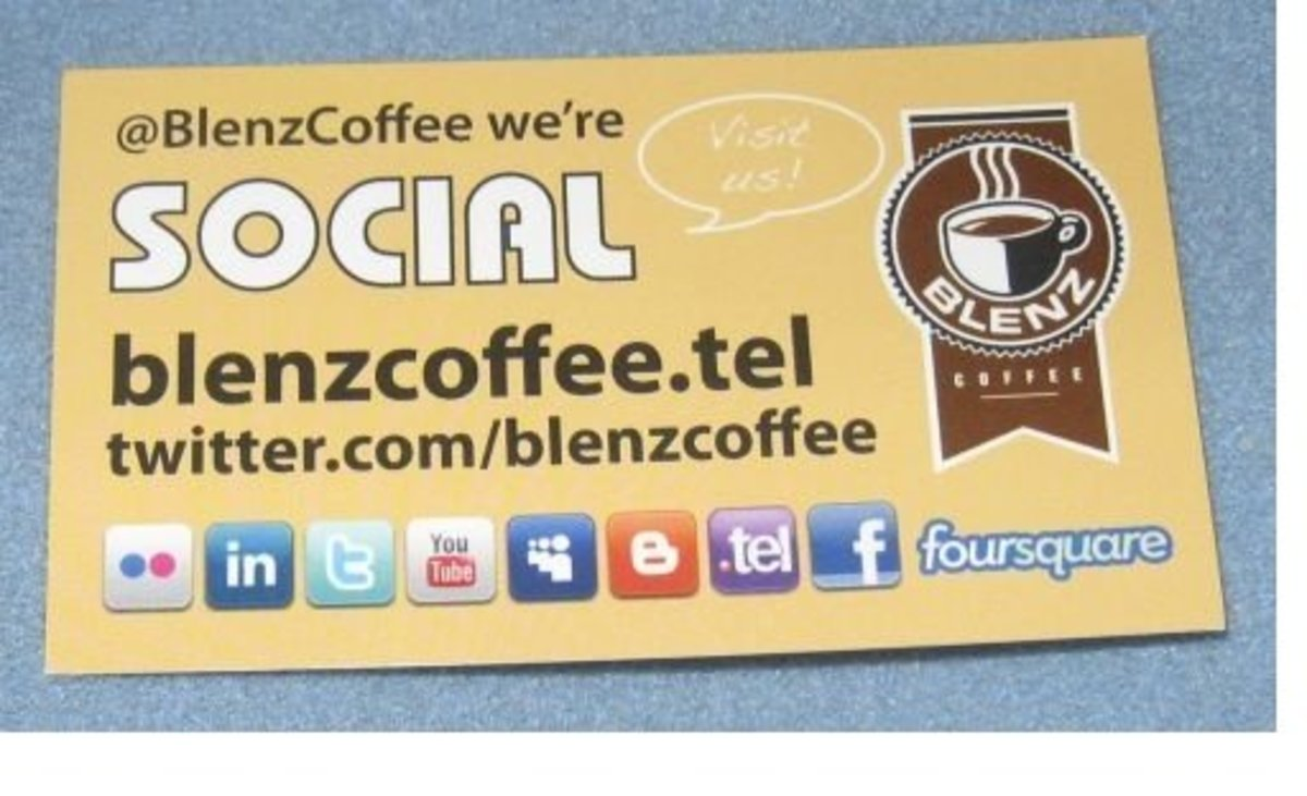 Social Media Business Card - Coffee Shop