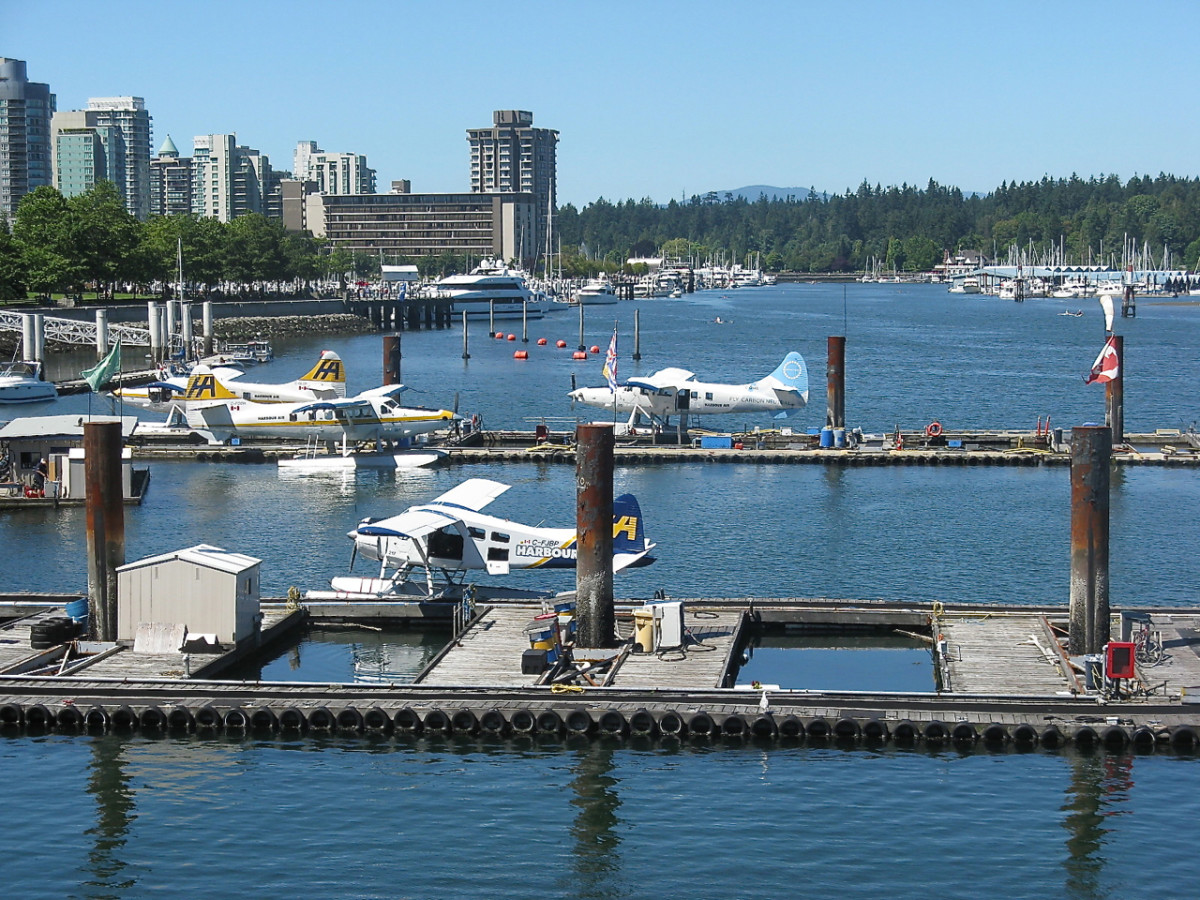 The float plane dock at Canada Place, with Stanley Park in the background