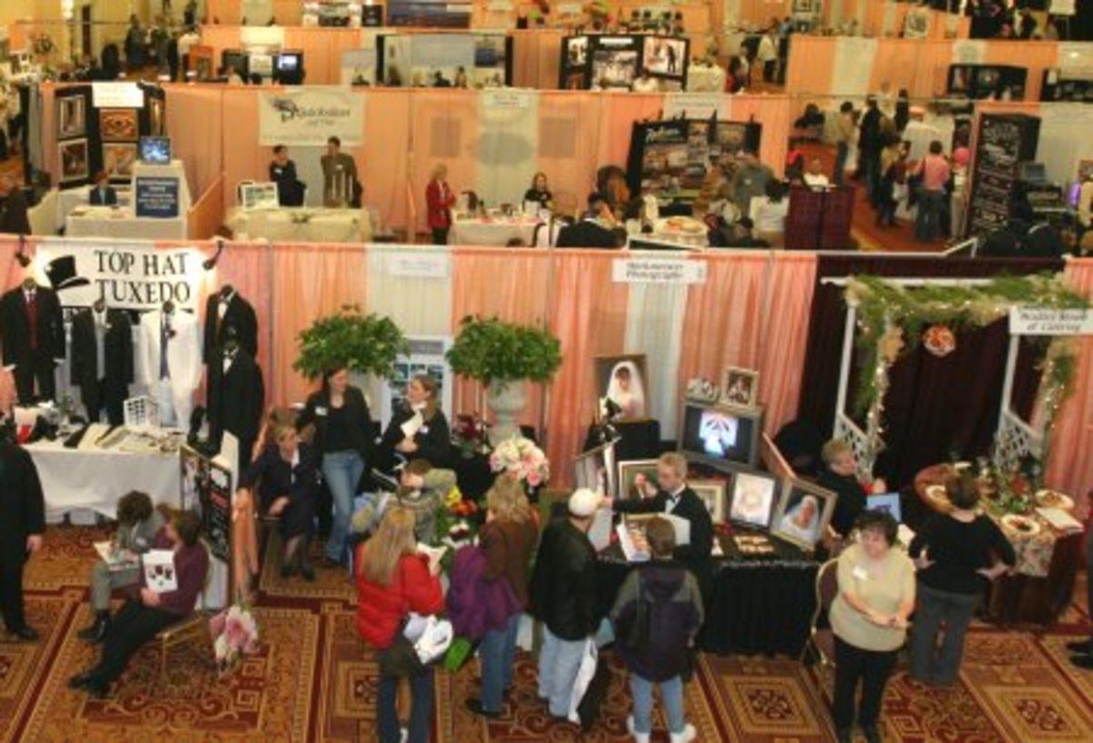 Above the action point of view of a bridal fair.