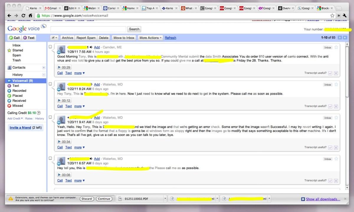 Google Voice Mail Text Transcripts