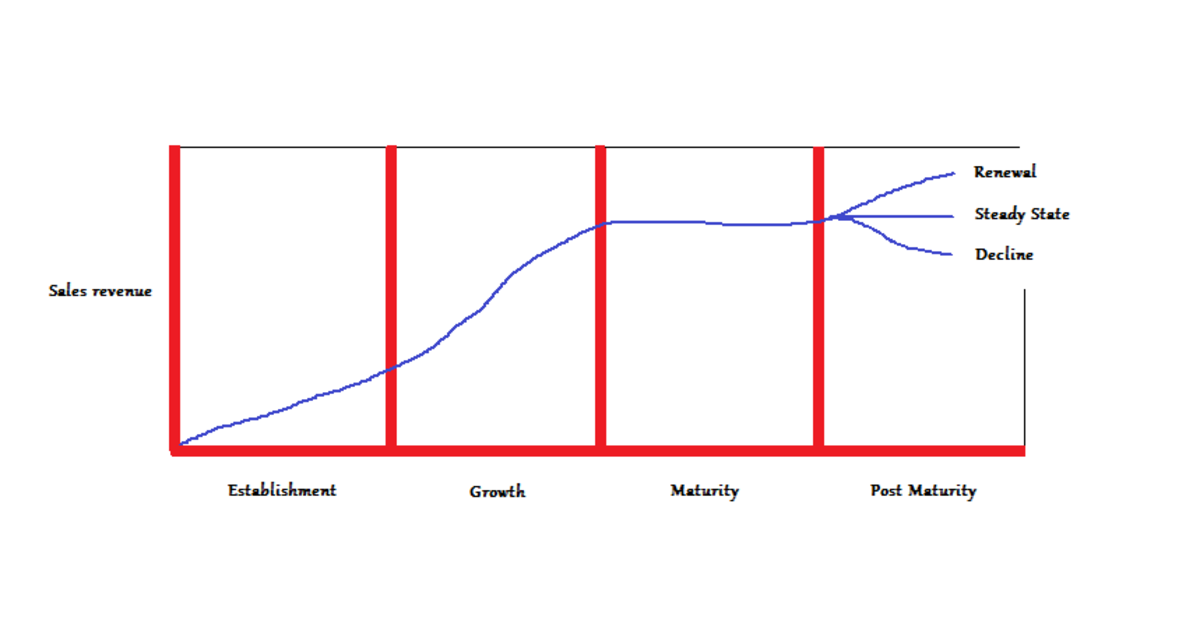 A graph of the business life cycle.