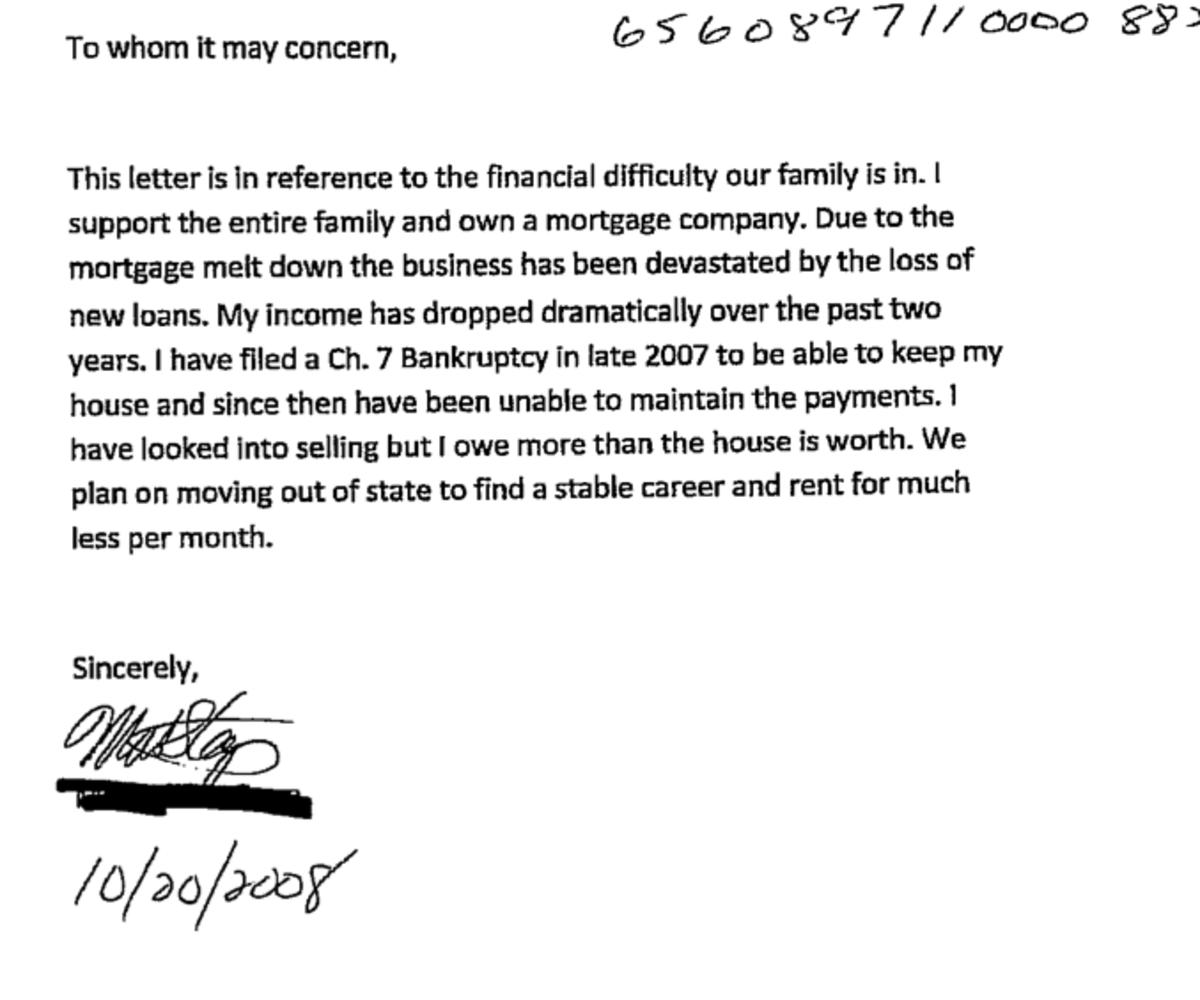 Hardship letter for short sales