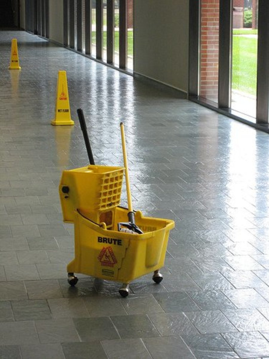mop and bucket in a hallway