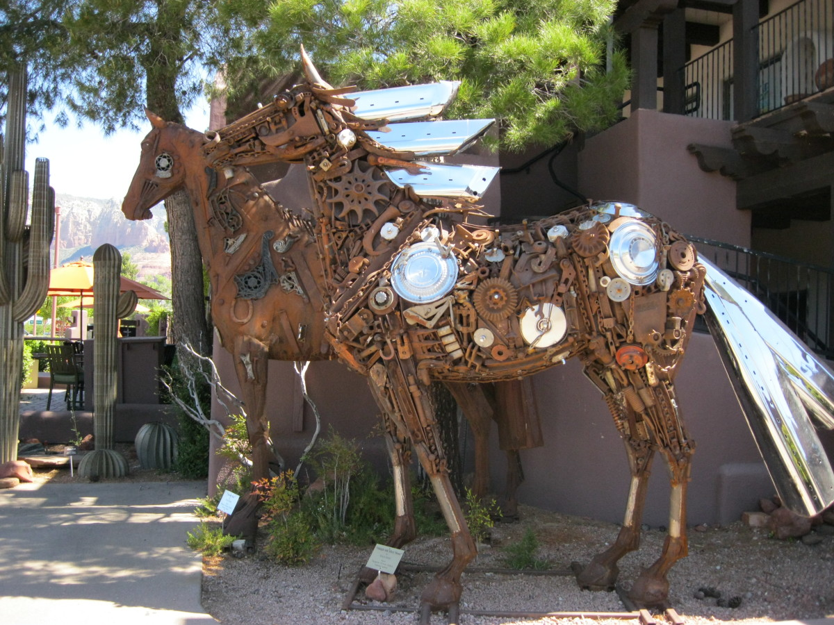 Recycled art horses
