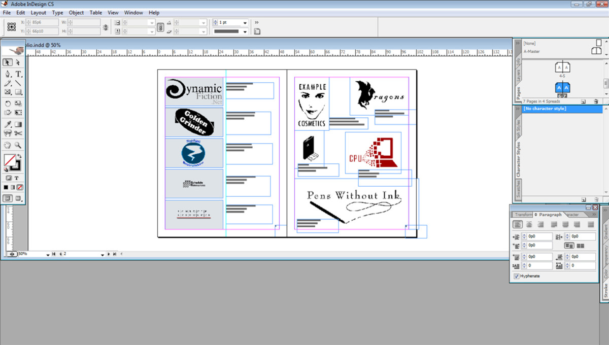 This is an example of what your portfolio will look like in page making programs. This one is Adobe InDesign and I'm showing two examples of how you could layout your page.