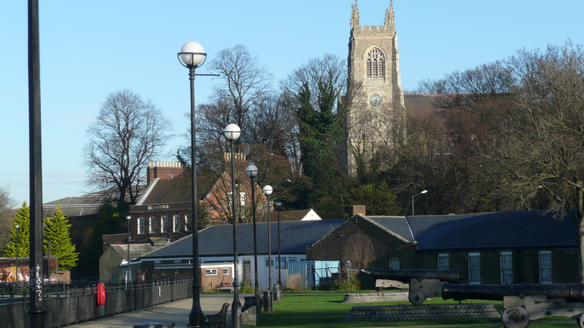 Chatham Riverside with the Command House and St.Mary's Church in the background.