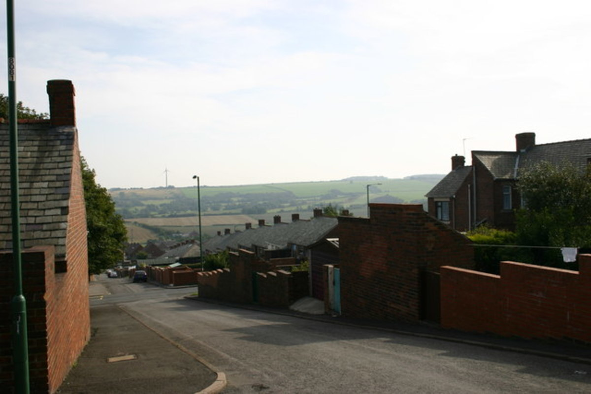 Stanley, view towards the hills