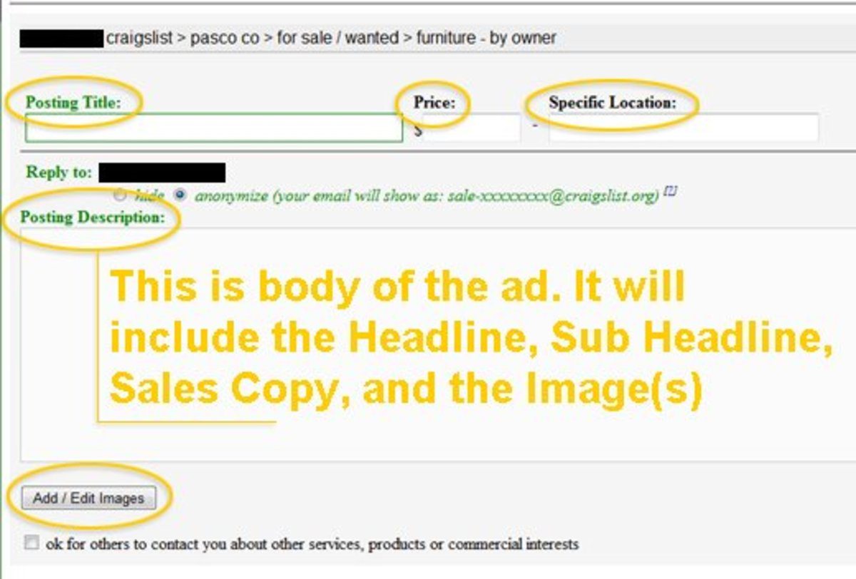 This is a screen shot of the primary ad creation interface you will use to create your ad. I have included orange highlights to help identify the elements we're discussing in this tutorial.