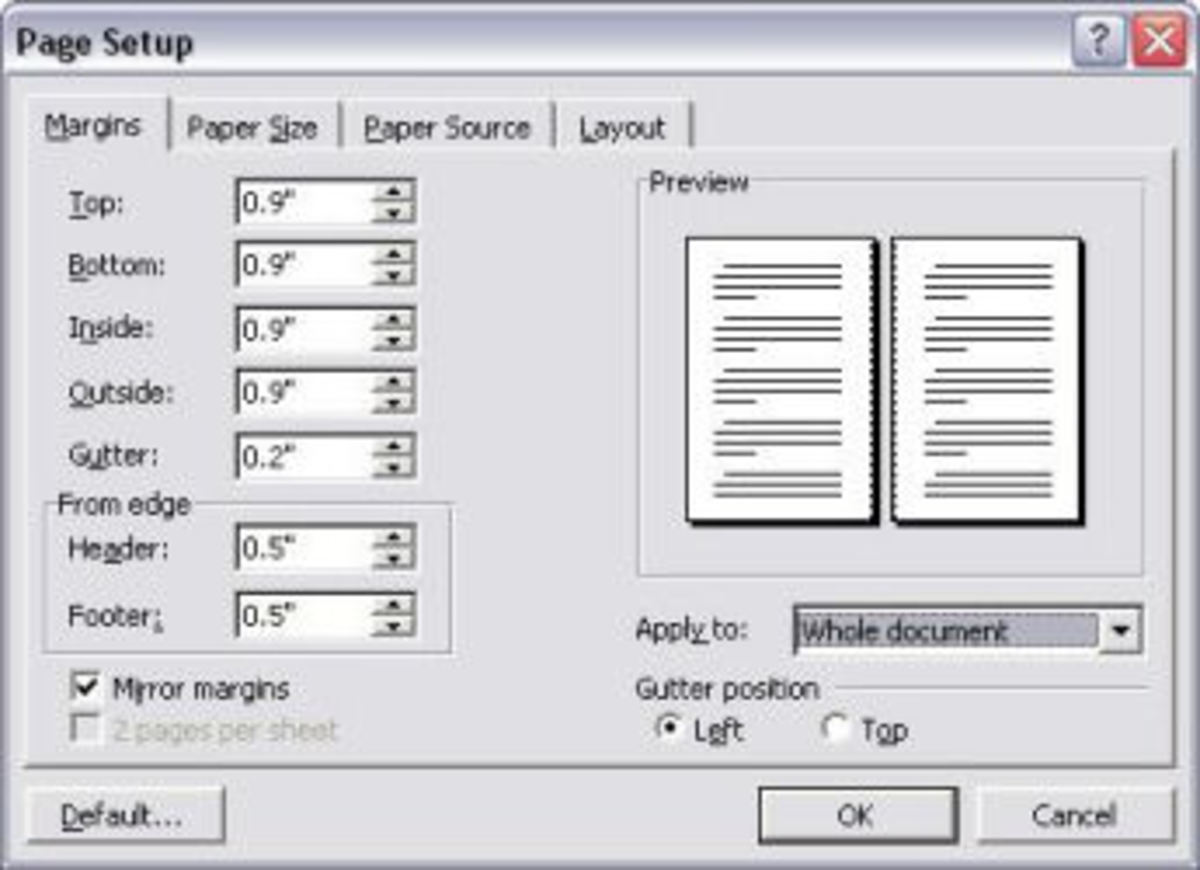 """Screen image of my MS Word Page Setup.  I prefer to use 0.9"""" for all margins. Almost 1 inch. Plus an extra half-inch for the header and footer to allow room for the headings and page numbers. Note how I also specified an extra 0.2"""" for the gutter."""