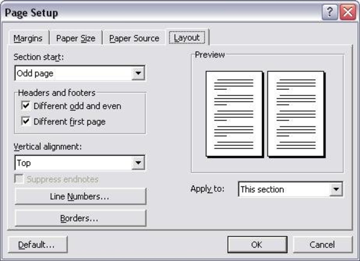 "Screen image of my MS Word Page Layout Settings. See my explanation in this article why it's important to specify ""different even and odd pages"" and  ""different  first page."""