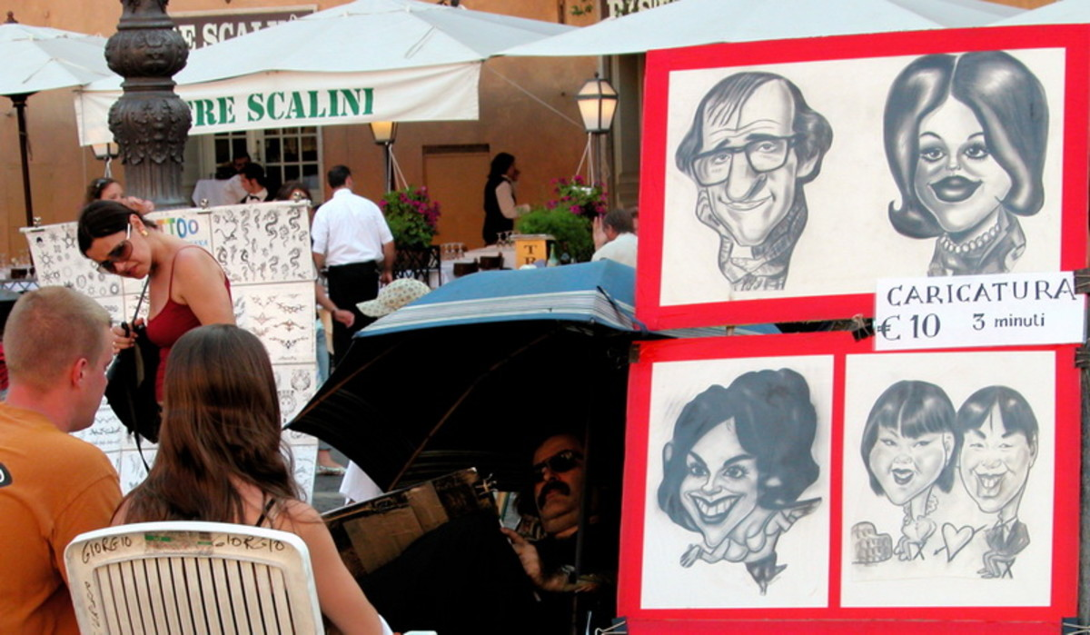 An artist offering caricatures.