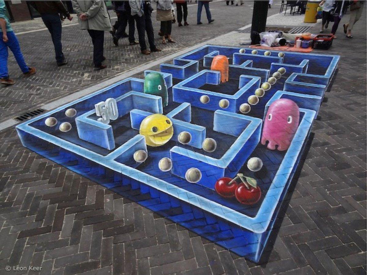 3-D Pac-Man Chalk Art