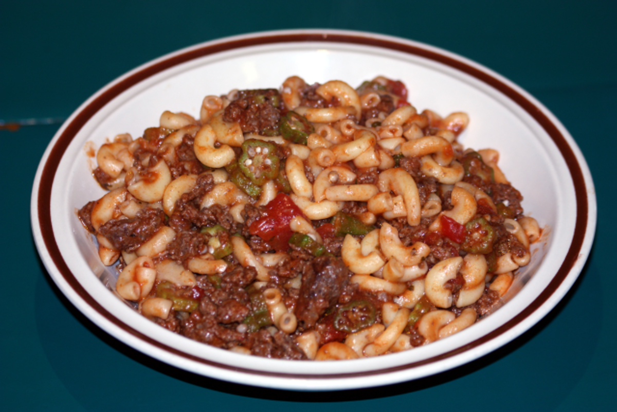 Ground venison with tomatoes, okra and macaroni. Pasta and rice are cheap meals.