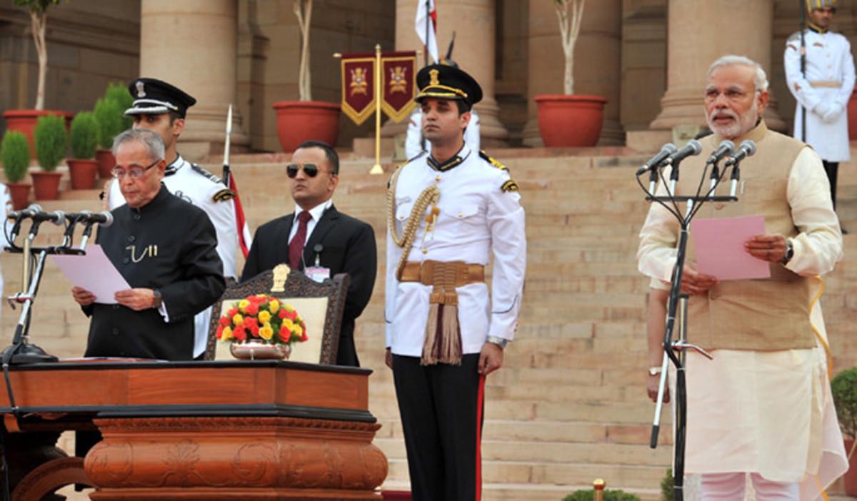 Narendra Modi swearing in as Prime Minister of India.
