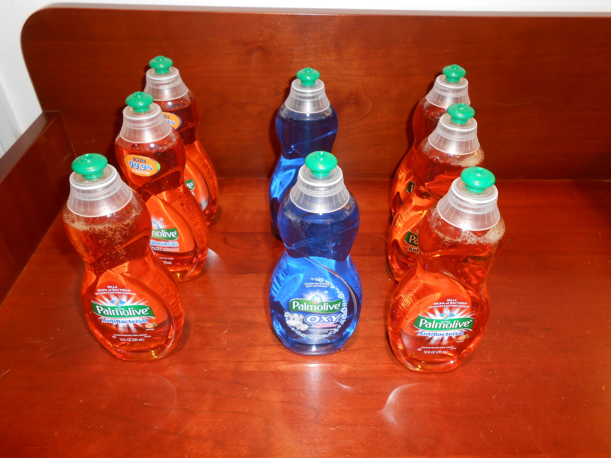 All of these dishwashing soaps were originally $1.59 but I got them for 38 cents each with a sale and a coupon.