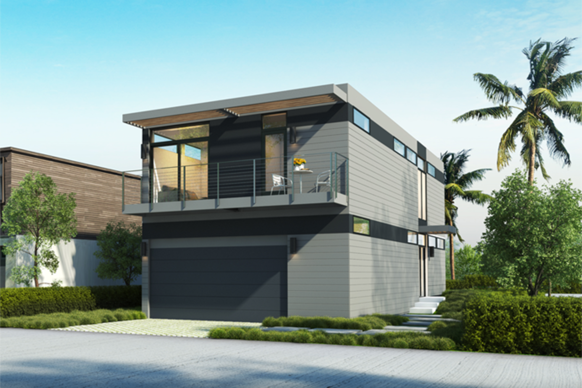This two-story, 3-bedroom/2.5-bath home by LivingHomes boasts 1,700 sqft. Prices estimate around $340,000 for the modules alone, or $566,000 complete.