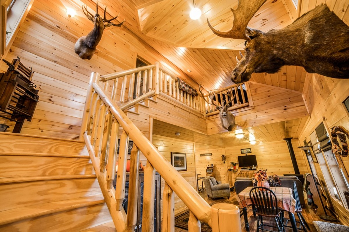 Homestead: cathedral-style great room and wooden bannister