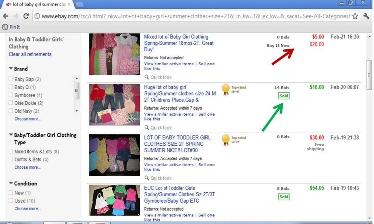 Completed Listings : The red arrow shows the item that did not sell. The green arrow shows the item that sold.