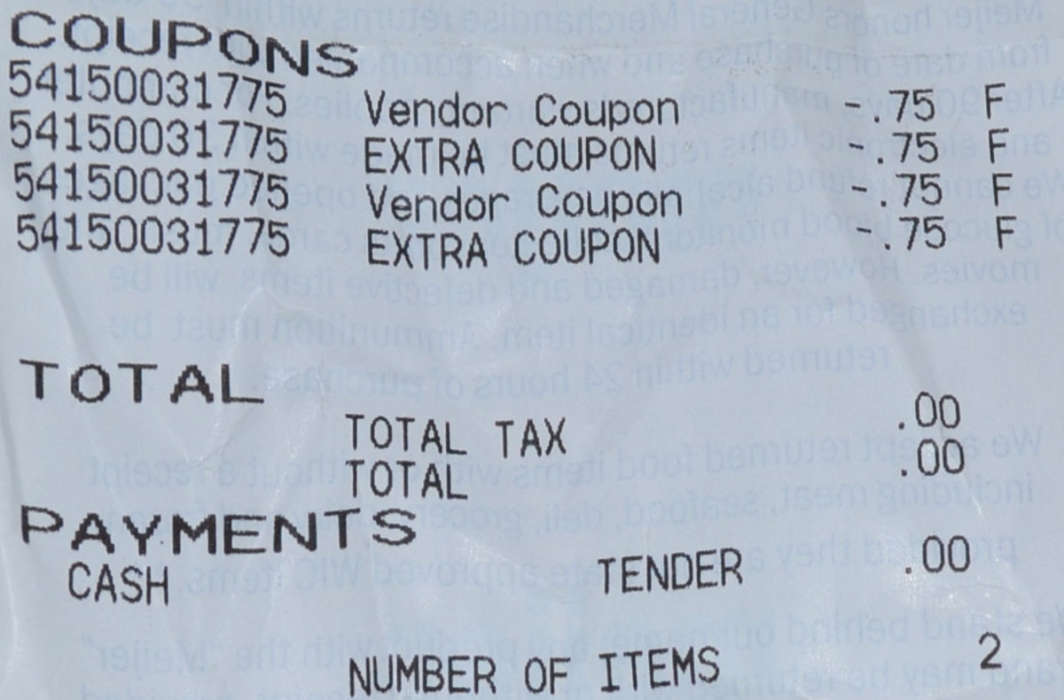 a zero balance receipt